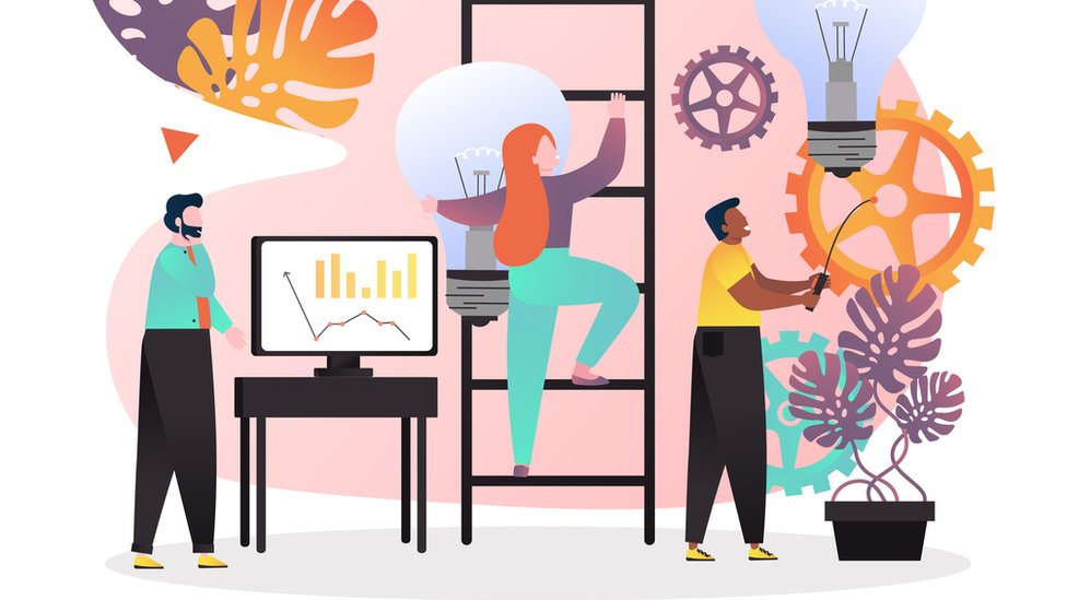 Ilustração mostra três pessoas, representando pesquisadores, em ambiente de laboratório - com computadores e engrenagens