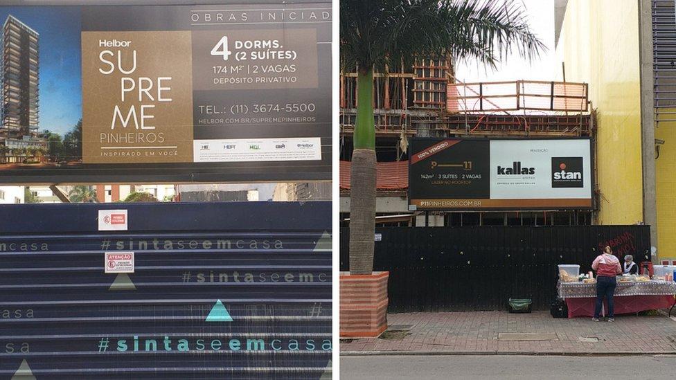 Imagem dos tapumes de construtores que cercam futuros empreendimentos de alto padrão em Pinheiros