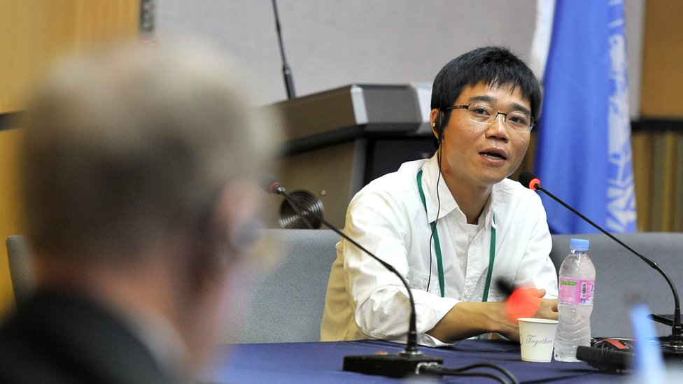 Ji Seong-Ho during a public hearing at Yonsei university in Seoul on August 22, 2013.