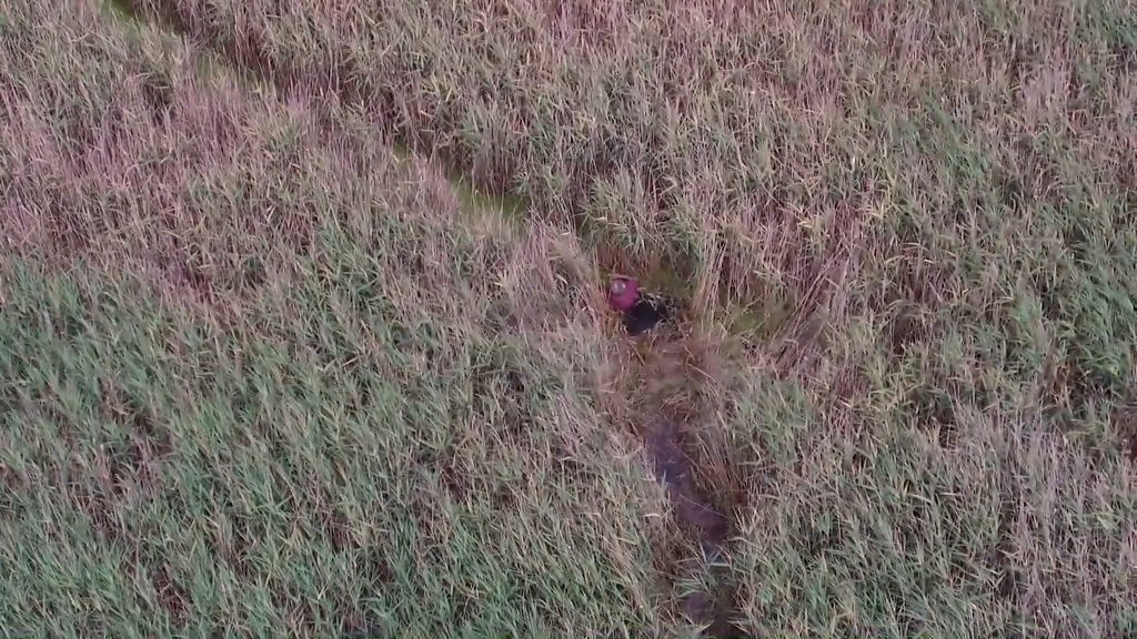 Drone finds missing man stuck in marshes in Titchwell
