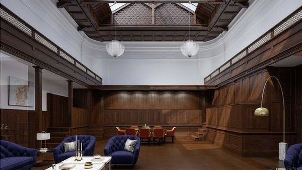 An artist's impression of how a former courtroom in the restored Sheffield Old Town Hall could look