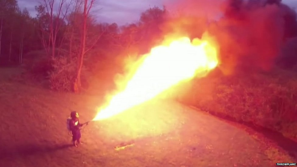 Throwflame's industrial flamethrower can project napalm 50 feet (15m)