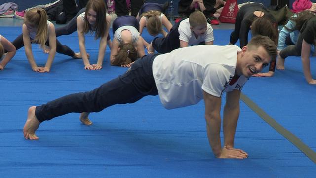 Max Whitlock visits a gymnastics club in Belfast