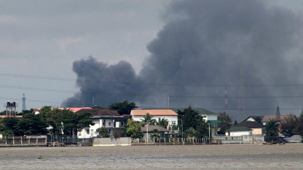 Smoke rises from Lagos mainland, Nigeria, October 21, 2020