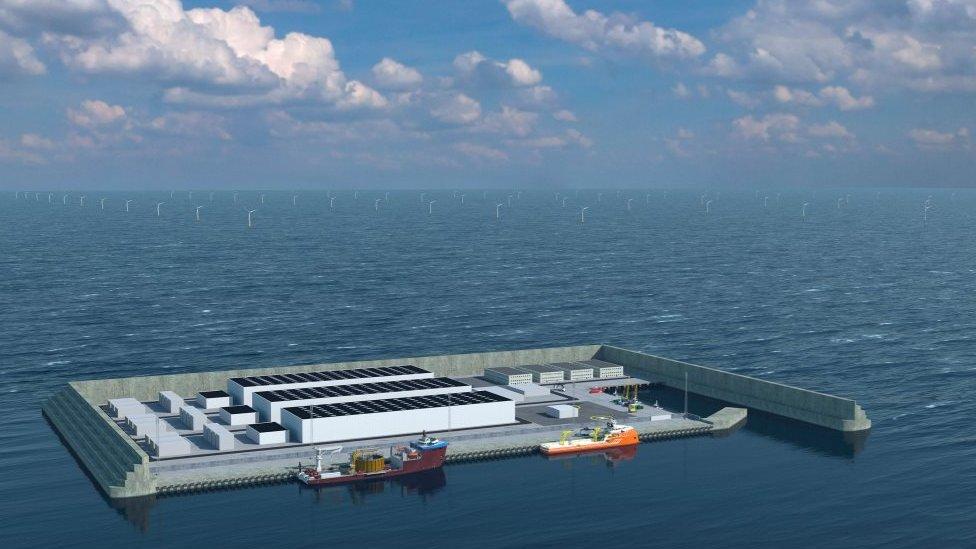 تصور للجزيرة محاطة بتوربينات الرياح البحرية على ارتفاع 260 مترا