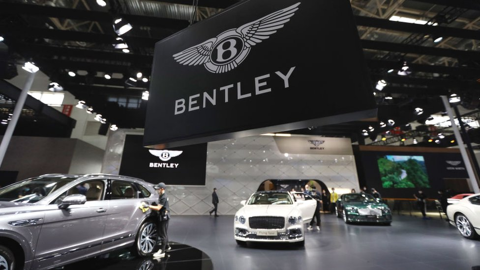 The Bentley booth at the 2020 Beijing International Automotive Exhibition on September 26, 2020 in Beijing, China.