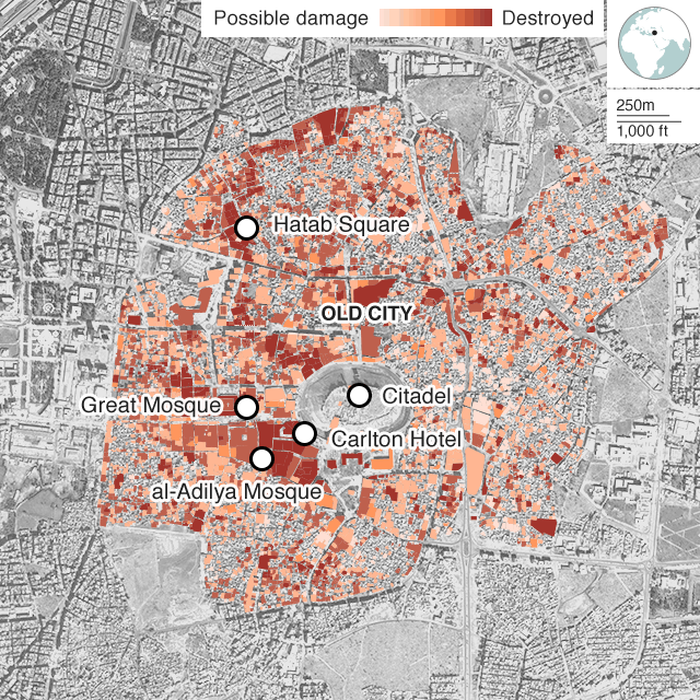 Map showing damage levels in Aleppo's Old City