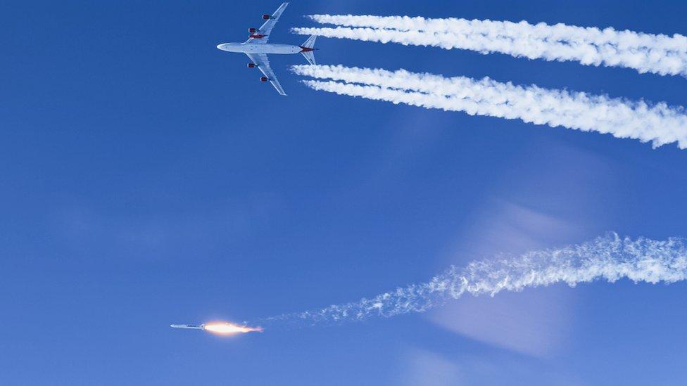 維珍軌道公司LauncherOne運載火箭在脫離宇宙女孩號飛機後點火前進(17/1/2021)