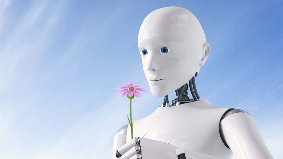 Un robot sonriente con una flor