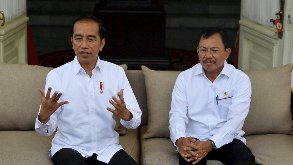 El president Widodo anunciando el primer caso de covid-19 en Jakarta, Indonesia.