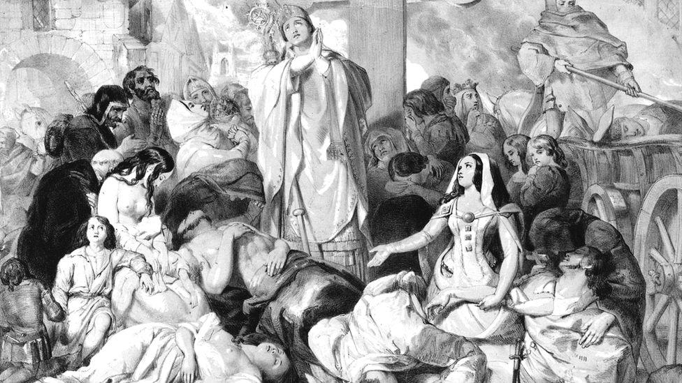 Ilustración de gente pidiendo alivio para la Peste Negra, alrededor de 1350.