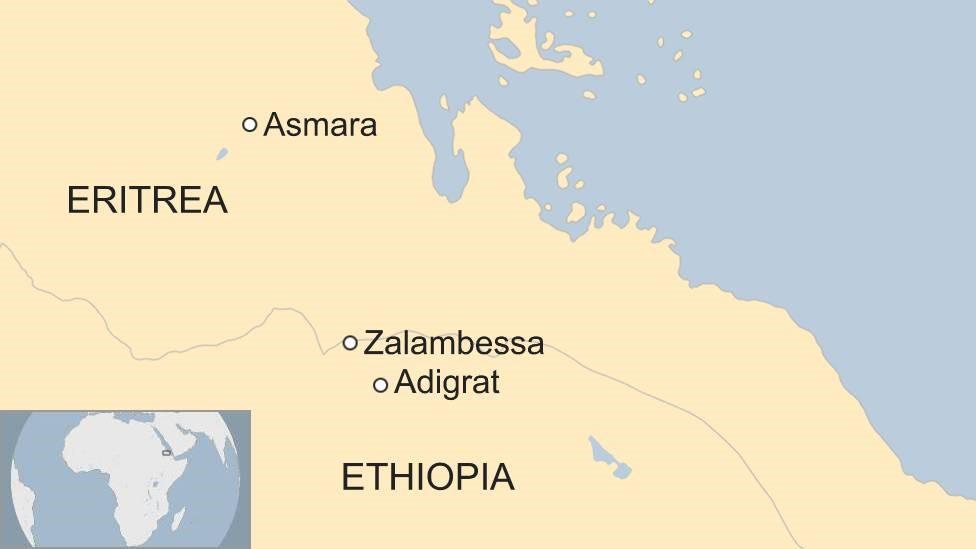 Map shoing location of Adigrat