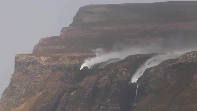 Gale force winds on the Isle of Mull caused waterfalls to flow upside down