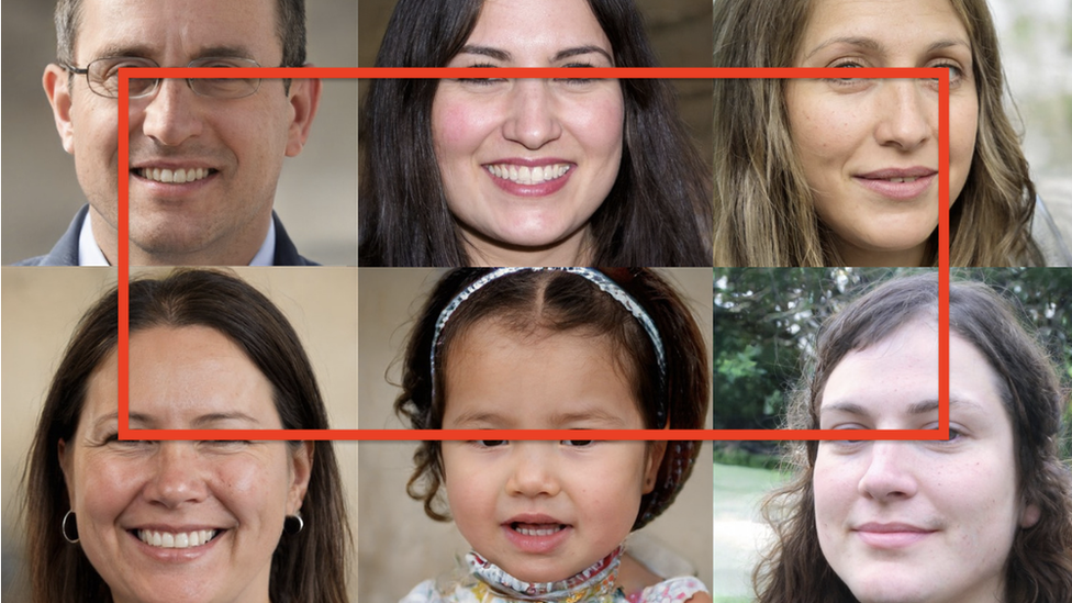 A collection of images of 6 people with a line joining all of their eyes to show how they are all perfectly in line.