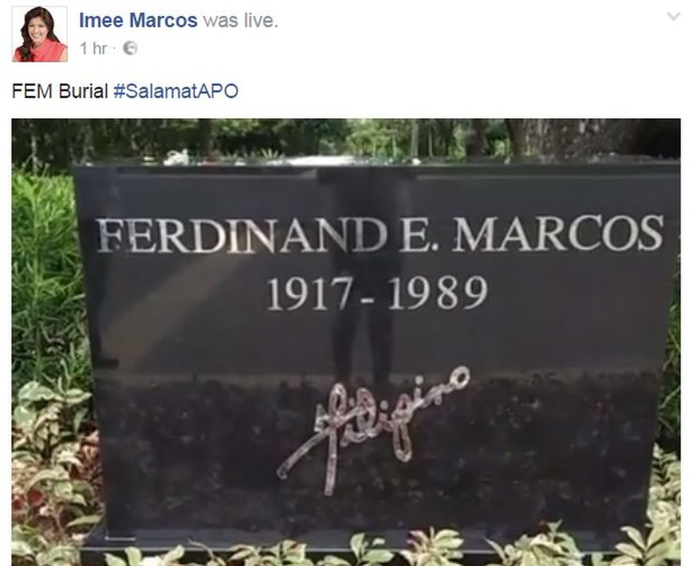 Screen grab from Imee Marcos' Facebook page, showing a live stream image of the late dictator's gravestone. 18 November 2016.