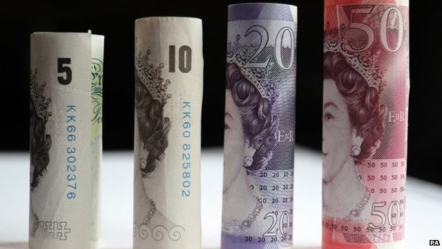 UK currency: £5, £10, £20, £50 notes