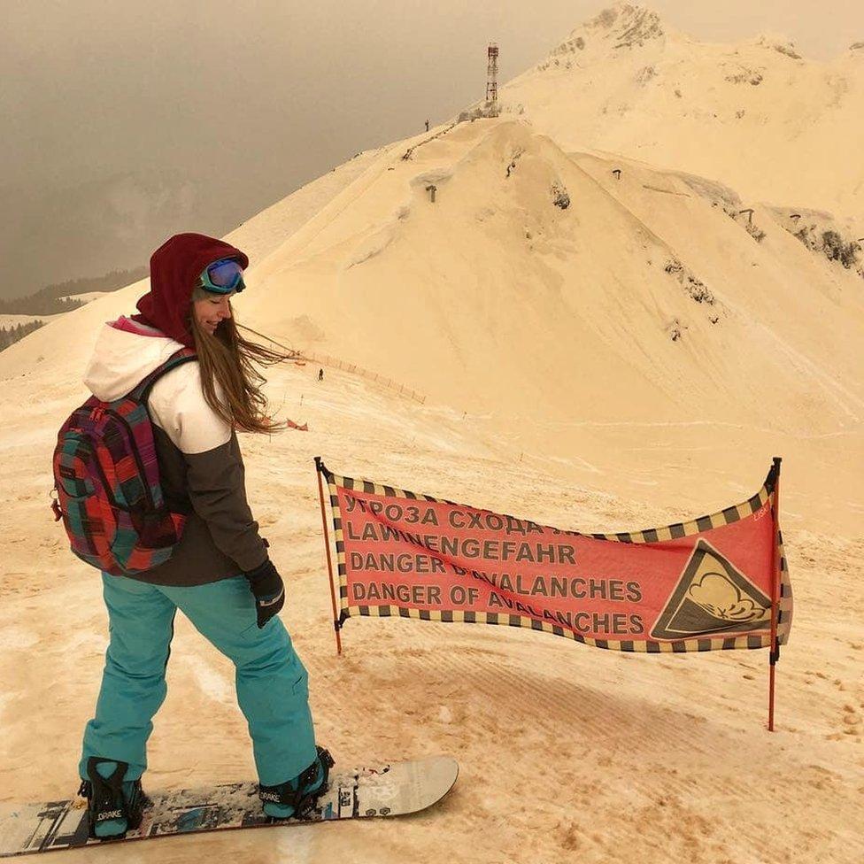 Snowboarder in the Russian Caucasus
