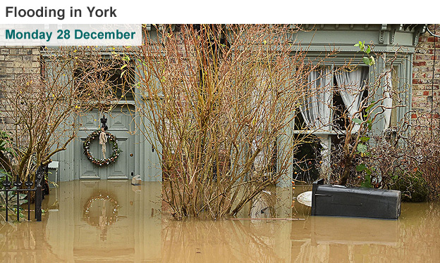 Before and after images of flooding in York