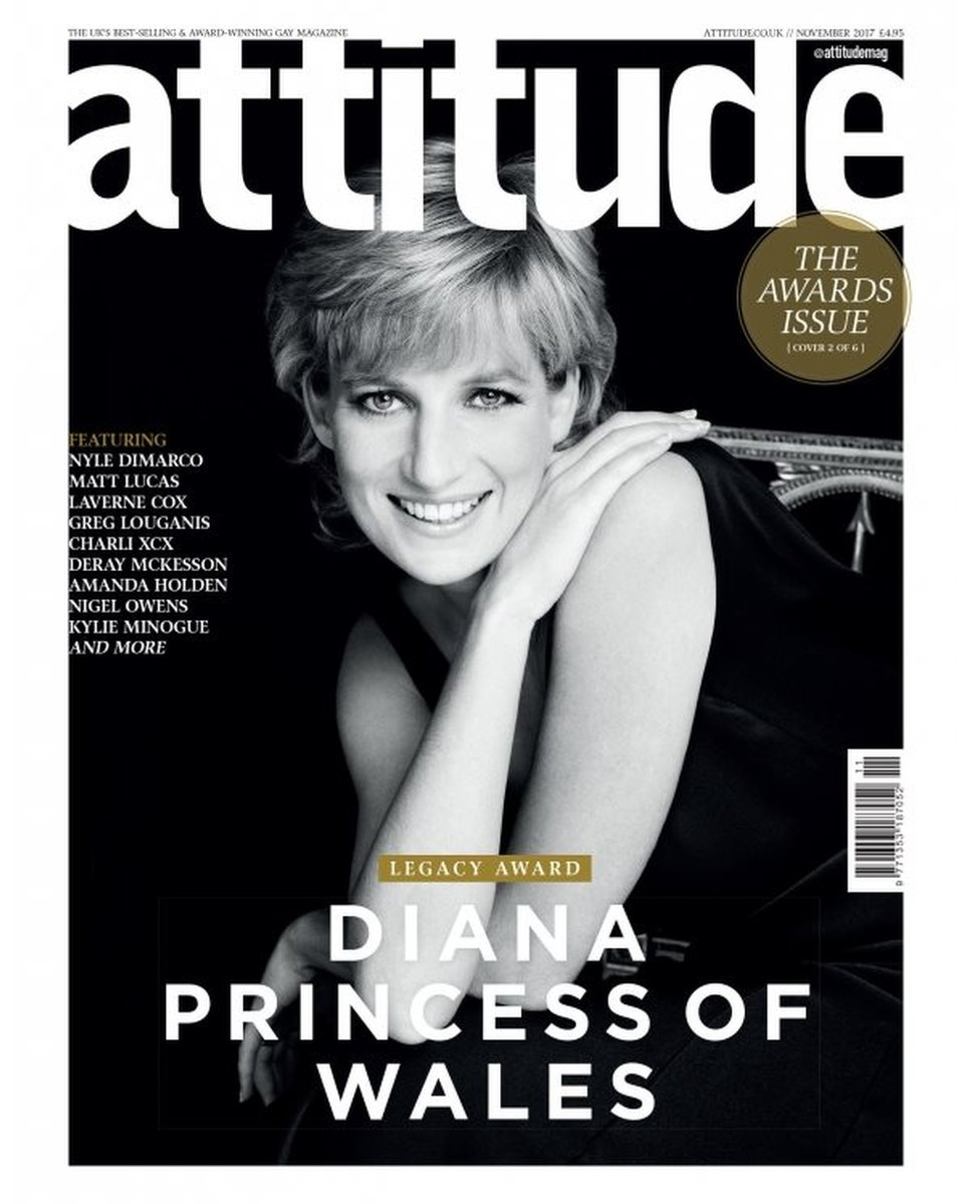 cover of the magazine featuring Diana, Princess of Wales, one of six limited-edition winners covers following her posthumous Attitude Legacy Award at the Virgin Holidays Attitude Awards 2017
