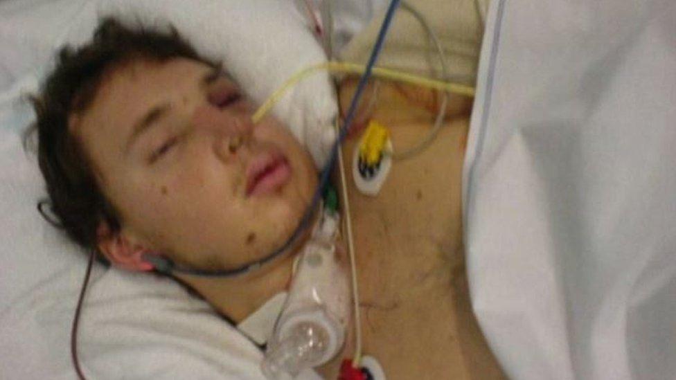 Jack Martindale in hospital