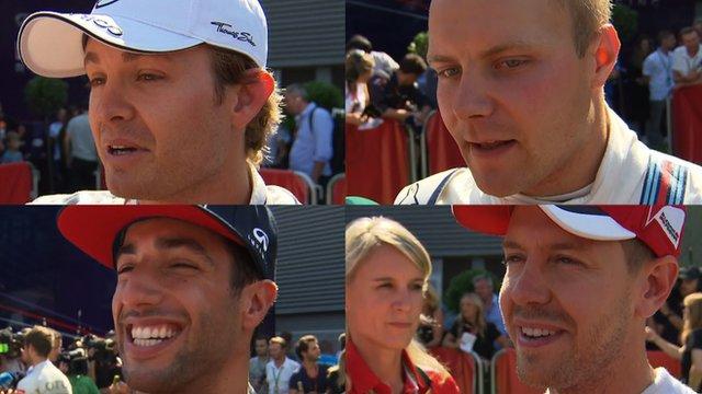 Nico Rosberg, Valtteri Bottas, Daniel Ricciardo and Sebastian Vettel