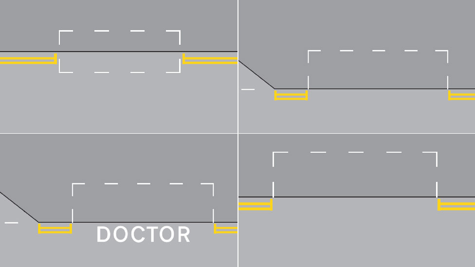 Composite of four parking graphics, parking partially on kerb, fully on kerb, partially on kerb as a doctor and not