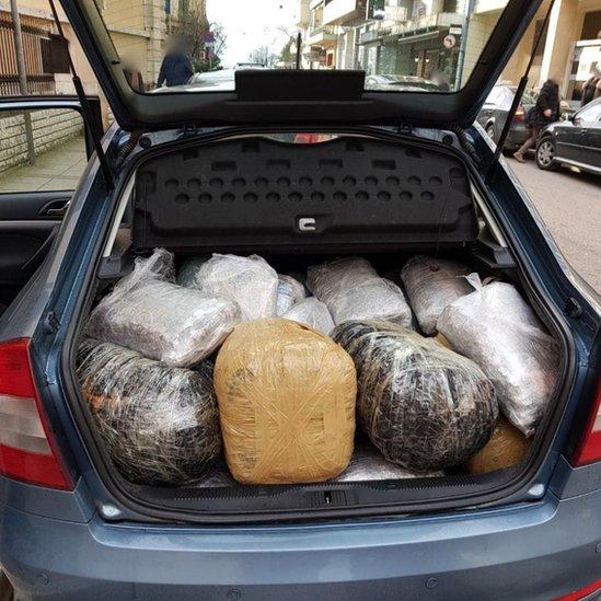 Cannabis found in a car in Greece