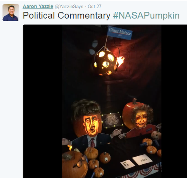 A tweet from NASA JPL mechanical engineer Aaron Yazzie showing an entry to the engineers' pumpkin carving contest