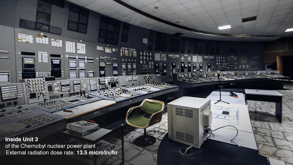 Dentro de la Unidad 3 de la central nuclear de Chernobyl.