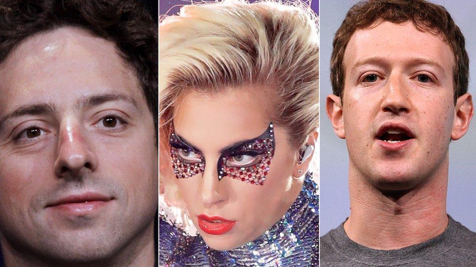 Sergey Brin, cofundador de Google, Lady Gaga y Mark Zuckerberg participaron en el estudio de Stanley.