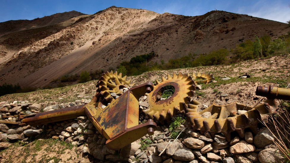 Remains of a destroyed Soviet tank in the Panjshir valley