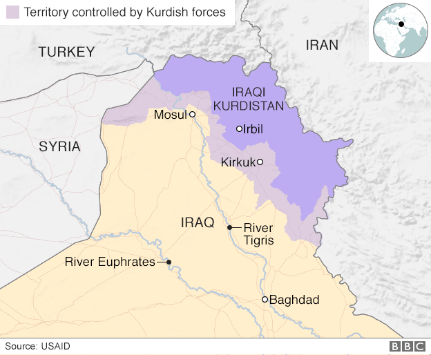 Map showing Iraqi Kurdistan and areas controlled by Kurdish forces