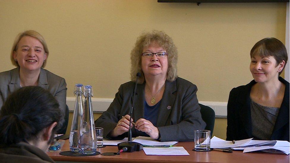 Natalie Bennett Green MEP Jean Lambert and Caroline Lucas