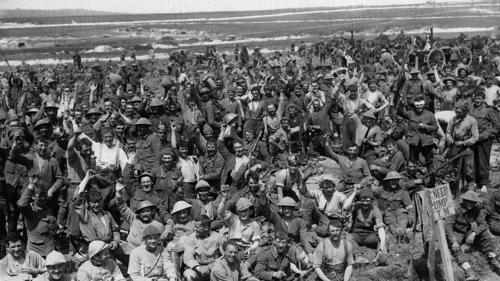 Soldiers resting after a battle in World War One