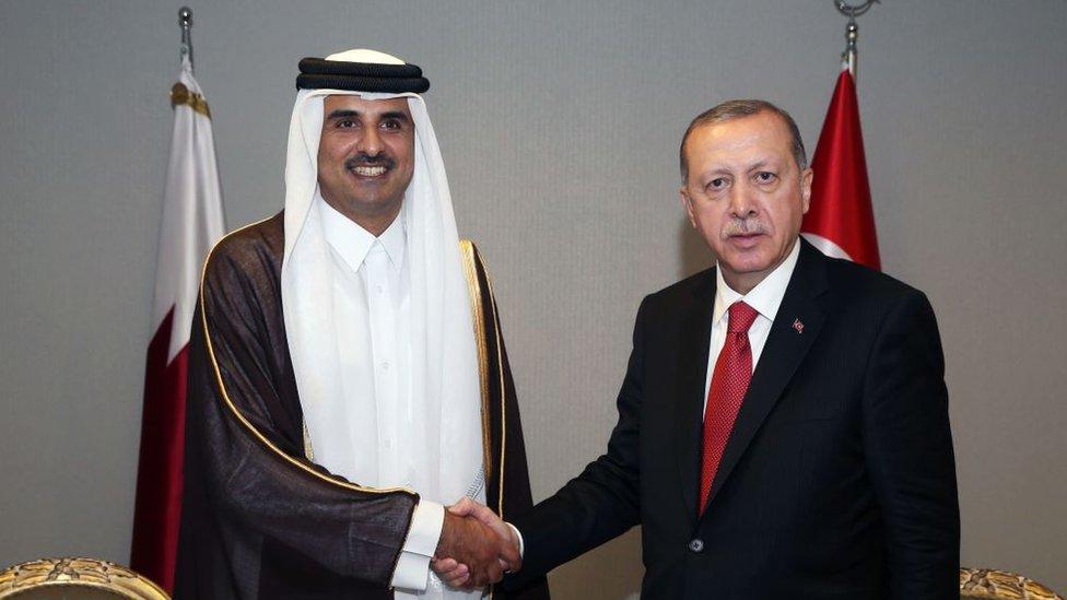 الرئيس التركي رجب طيب أردوغان يصافح أمير قطر الشيخ تميم بن حمد آل ثاني