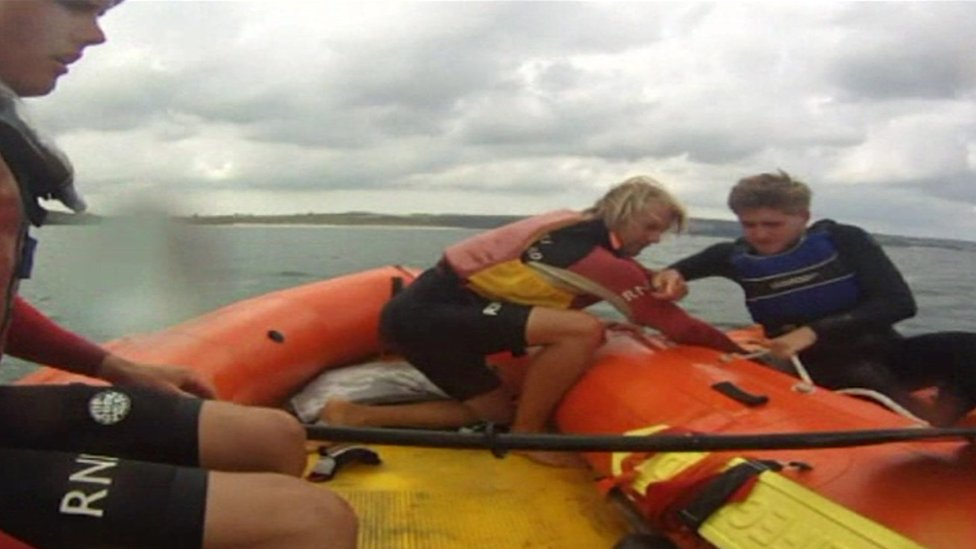 Lifeguards rescue a kayaker off Hayle in Cornwall this year