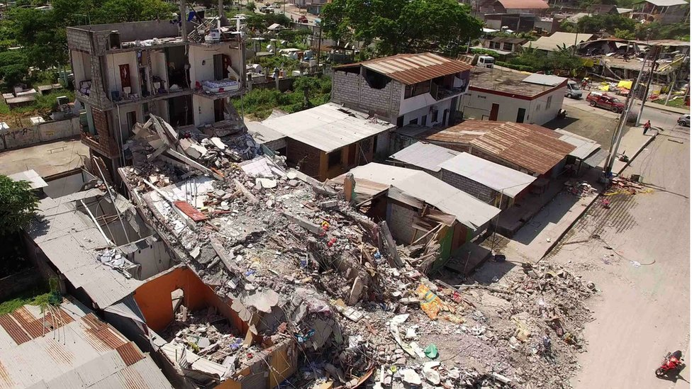 "Aerial view of Pedernales, one of Ecuador""s worst-hit towns, taken on April 18, 2016"