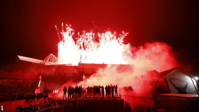 The spectacular firework display inside Anfield captured from outside the ground