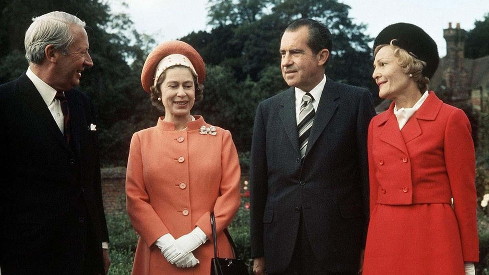 Queen Elizabeth II (2nd left) and Prime Minister Edward Heath (left) with US President Richard Nixon and his wife at Chequers