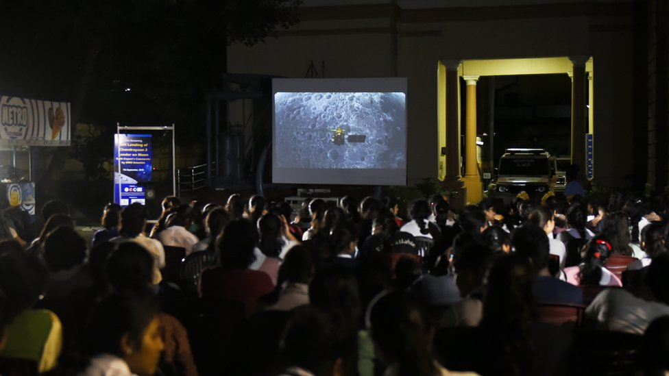 In Kolkata, India, 07 September, 2019, school students watch the live streaming screen of Chandrayaan2 landing on the lunar surface. According to ISRO (Indian Space Research Organisation), Vikram Lander was as planned and normal performance was observed upto an altitude of 2.1km