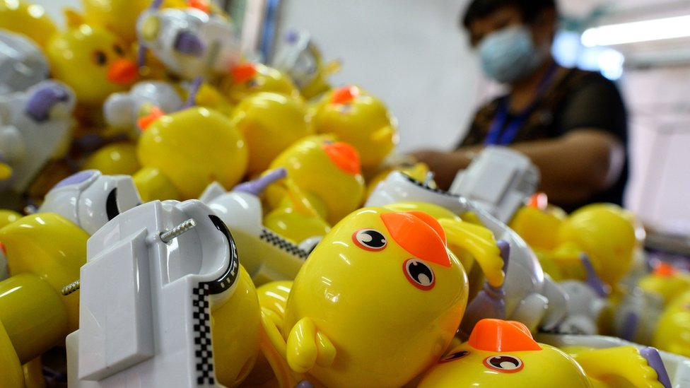 Workers assembling toys at the Mendiss toy factory in Shantou, in southern China's Guangdong province