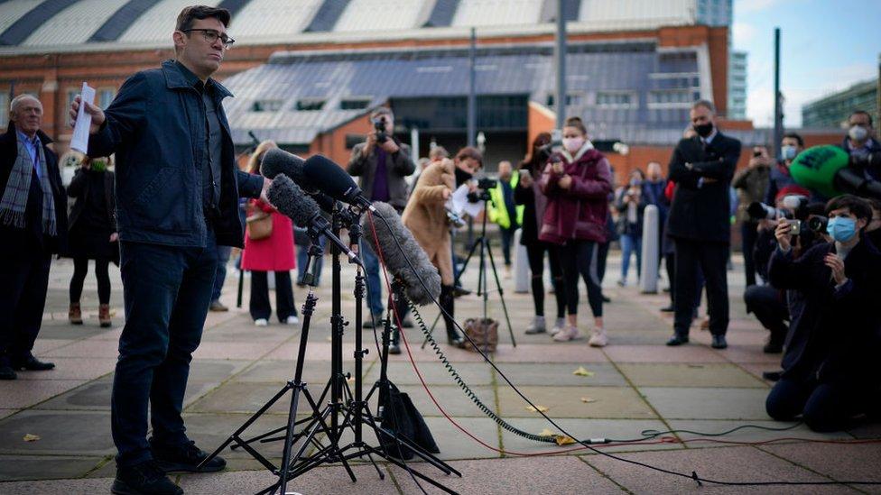 Greater Manchester Mayor Andy Burnham addressing the media