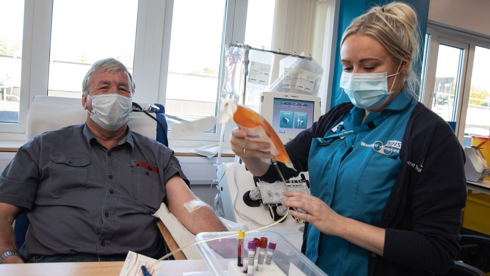 Alan Mack donating plasma
