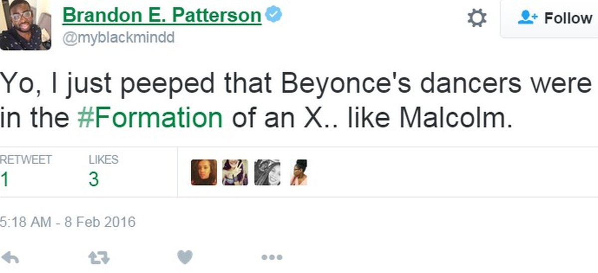 Tweet by Mother Jones correspondent commenting on Beyonce's dancers forming X shape - 7 February