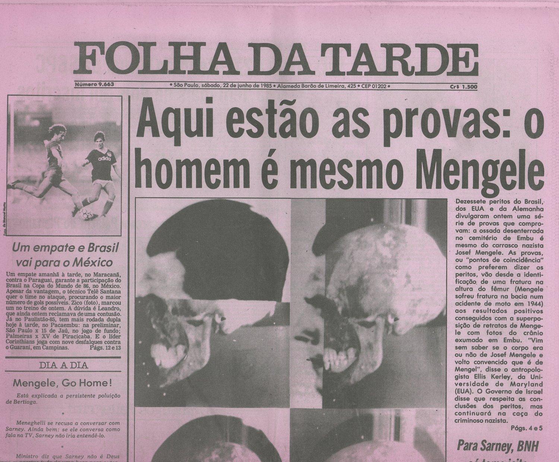 """Portada de """"Folha da Tarde"""" del 22 de junio de 1985"""