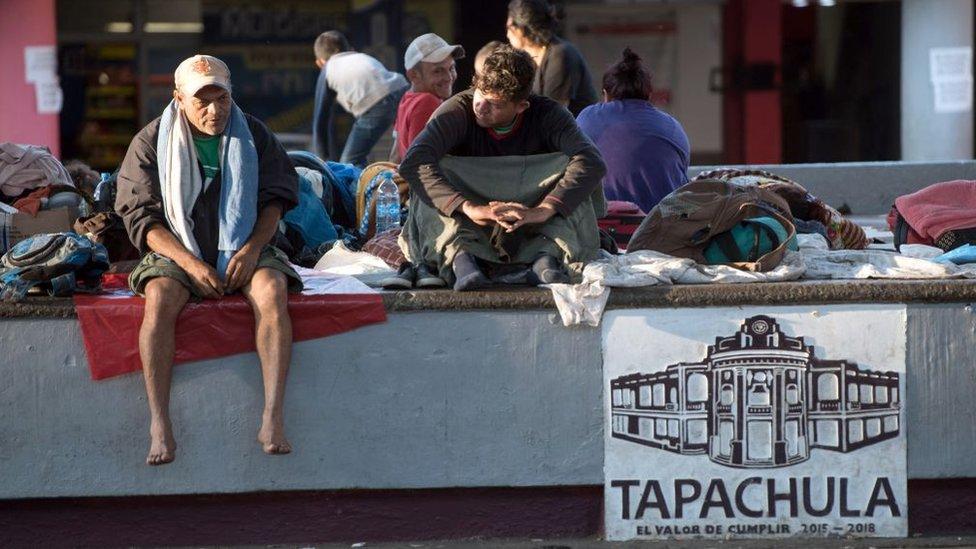 Migrantes a su paso por Tapachula