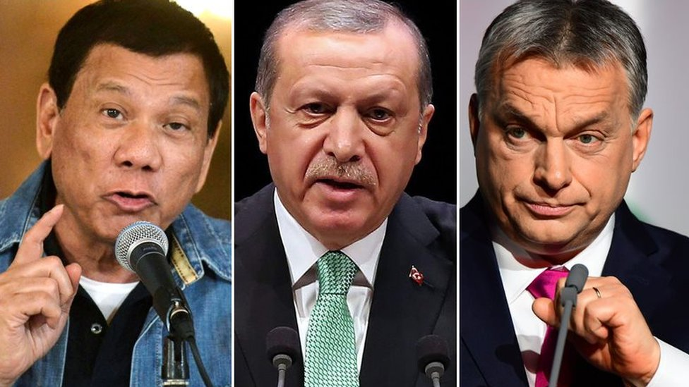 Pictures of Philippines President Rodrigo Duterte, Turkish President Recep Tayyip Erdogan and Hungarian Prime Minister Viktor Orban