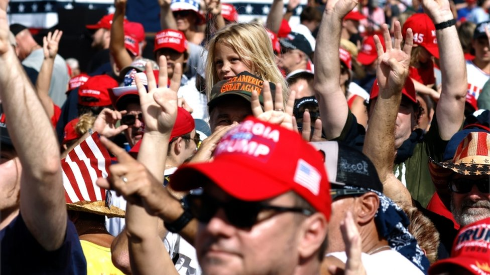 Supporters at Donald Trump rally in Tapma