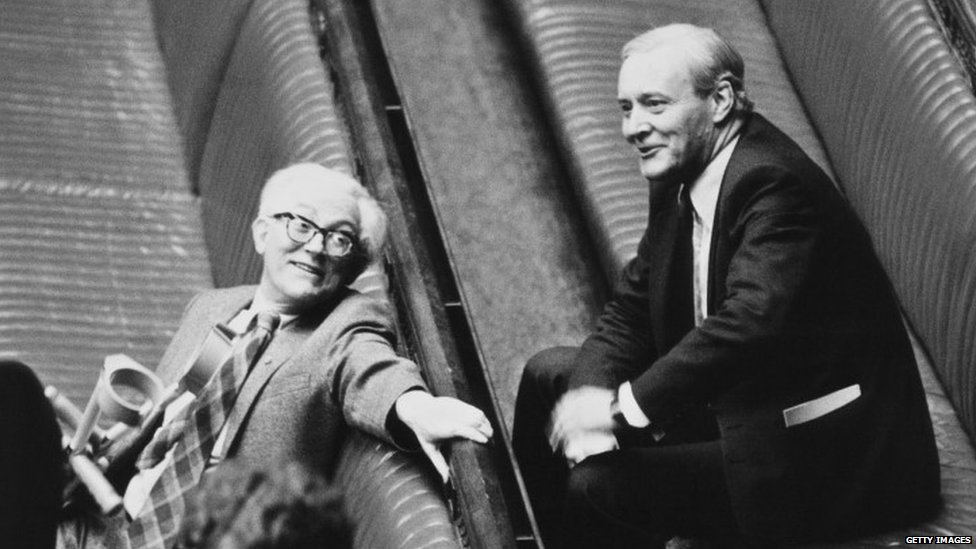 Michael Foot and Tony Benn in 1980