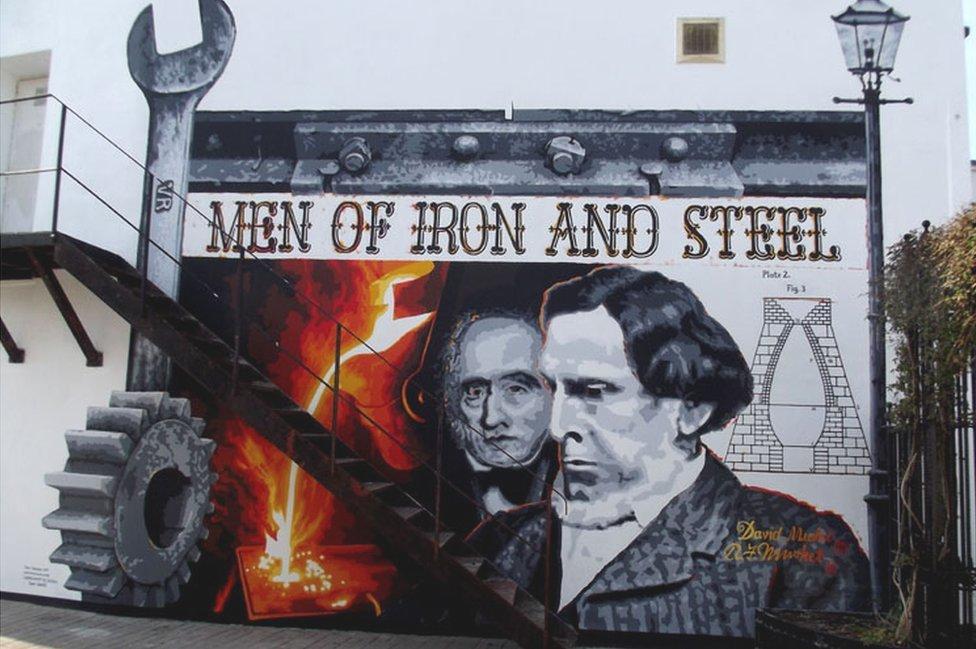 Mural of Robert and David Mushet